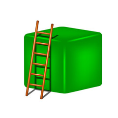 Green cube and wooden ladder
