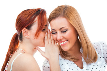 Two happy young girl friends talking or whispering