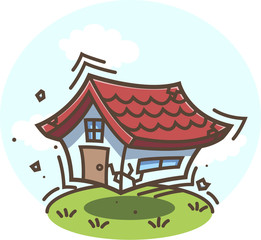 地震!揺れる家