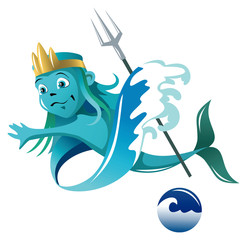 Elemental of Water, cartoon style vector illustration