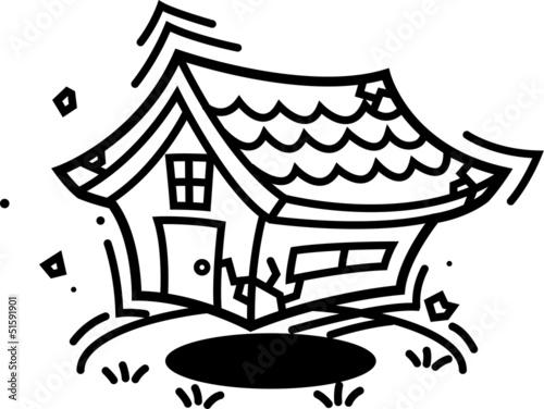 地震!揺れる家 モノクロ