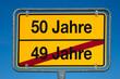 Wechselschild ohne Pfeil 49 JAHRE - 50 JAHRE