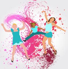Silhouette et peinture : Femmes sautant en l'air