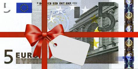 5 Euroschein mit Geschenkband und Label