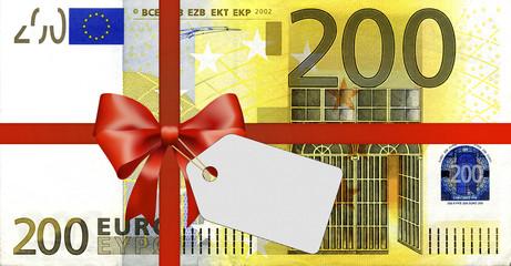 200 Euroschein mit Geschenkband und Label