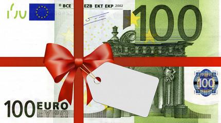 100 Euroschein mit Geschenkband und Label