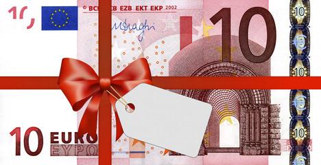 10 Euroschein mit Geschenkband und Label