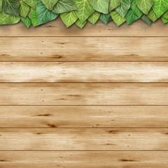 Holzhintergrund mit Blätter