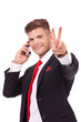 business man victory sign