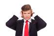 business man not listening