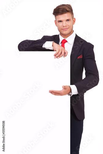 business man presents board