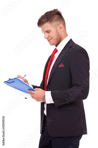 business man notes something