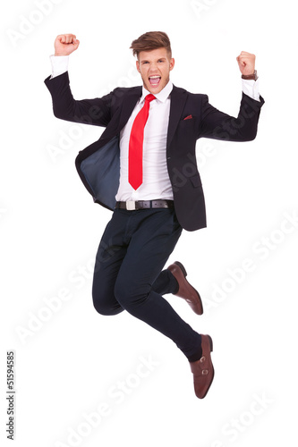 business man jumping ecstatic