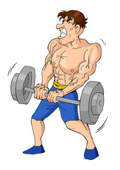 Caricature of a muscular male figure doing weightlifting