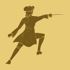 17th century swordsman in carved style illustration