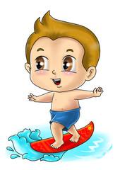 Cute cartoon illustration of a surfer