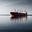 Leinwanddruck Bild - cargo ship sailing in still water