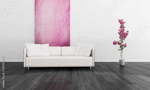 Modern White Couch against Pink Wall