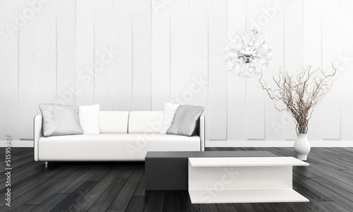 Modern Couch in Front of Wall