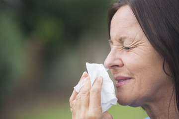 Relaxed woman suffering flu or hayfever