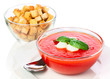 Delicious cold gazpacho soup with mozzarella and garlic croutons