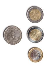 5 D-Mark und 5 Euro