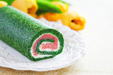 Spinach roll with smoked salmon and cream cheese