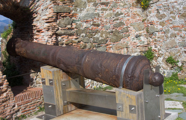 Old cannon in the fortress of Priamar, Savona