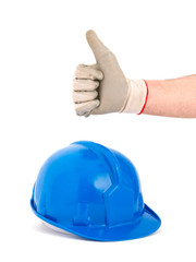 Safety helmet and hand expressing positivity with ok symbol