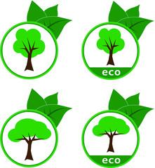 Eco Tree Logo Vector Set