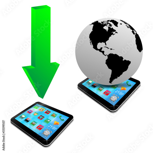 green arrows, tablet and model of planet earth 20.04.13