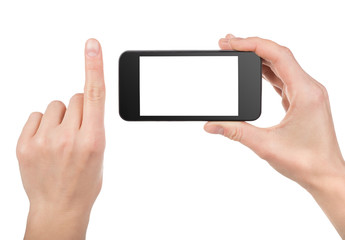 Black smart phone in hand isolated