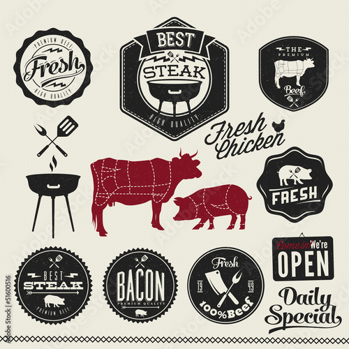 Vintage BBQ Grill elements, Typographical Design