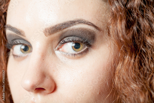 shot of woman's eyes with long eyelashes