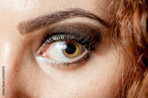 Macro shot of woman's eye with long eyelashes look