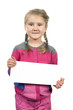 cute girl standing with empty horizontal blank