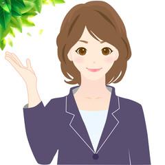 女性 指を指す Woman Guide