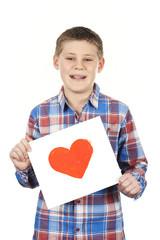 Drawn heart in boy hands