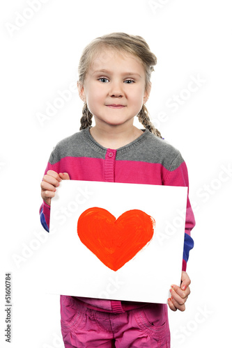 Drawn heart in girl hands