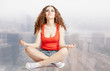 view of young woman do yoga meditation on white