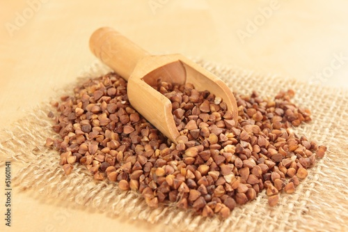 buckwheat with wooden spoon - 51601141