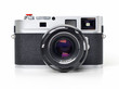 Rangefinder camera on white background