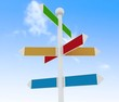 Direction road signs on blue sky  background.