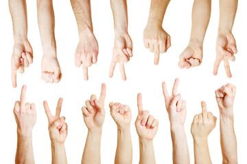 Viele Hände zeigen verschiedene Symbole