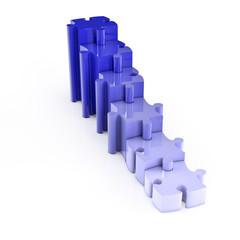 Blaue Puzzleteile steigen nach oben