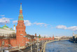 Moscow Kremlin winter panorama. Moscow river embankment.