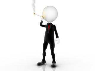 3d businessman smoker puffing cigarette