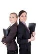 Geschäftsfrauen mit Aktenordner und Ledermappe