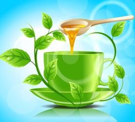 Зеленая чашка чая с медом
