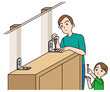 防災_家具を固定する親子